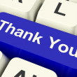Thank You Computer Key As Online Thanks Message - Stockfoto