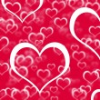 Red Hearts Background Showing Love Romance And Valentines — 图库照片