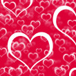 Red Hearts Background Showing Love Romance And Valentines — Stockfoto #10449985