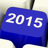 2015 Key On Keyboard Representing Year Two Thousand And Fifteen — Stock Photo