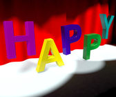 Happy Word On Stage Meaning Happiness Fun And Joy — Stock Photo