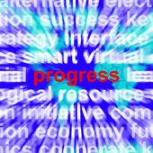 Progress Word Meaning Growth Profit And Improvement — Stock Photo