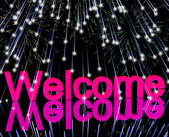 Welcome Word With Fireworks Showing Greeting Of Hospitality — Stock Photo