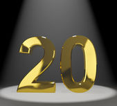 Gold 20th Or Twenty 3d Number Representing Anniversary Or Birthd — Stock Photo