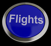 Flights Button In Blue For Overseas Vacation Or Holiday — Stock Photo