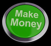 Make Money Button Green Showing Startup Business And Wealth — Stock Photo
