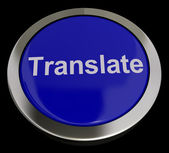 Translate Button In Blue Showing Online Translator — Stock Photo