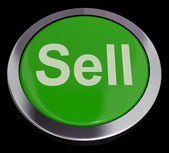Sell Button In Green Showing Sales And Business — Stock Photo