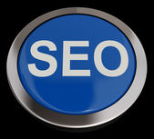 SEO Button In Blue Showing Internet Marketing And Optimization — Stock Photo