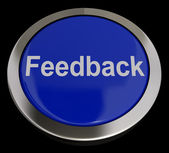 Feedback Button In Blue Showing Opinions And Surveys — Stock Photo