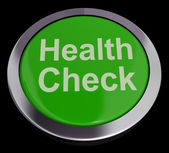 Health Check Button In Green Showing Medical Examination — 图库照片