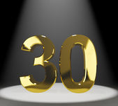Gold 30th Or Thirty 3d Number Closeup Representing Anniversary O — Stock Photo