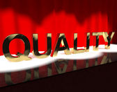 Quality Word On Stage Showing Excellence Perfection And Improvem — Stock Photo