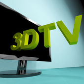 Three Dimensional Television Meaning 3D HD TV — Stock Photo