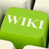 Wiki Computer Key For Online Information Or Encyclopedia — Stock Photo