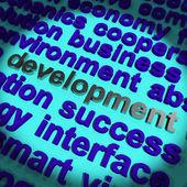 Ontwikkeling woord tonen verbetering vooruitgang en groei — Stockfoto