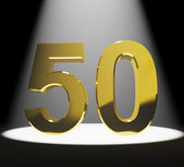 Gold 50th Or Fifty 3d Number Closeup Representing Anniversary Or — Stock Photo
