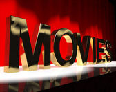 Movies Word On Stage Showing Cinema And Hollywood — Stock Photo