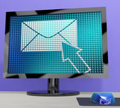 Email Icon On Screen Showing Emailing Or Contacting — Stock Photo
