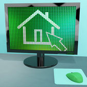 Home Symbol On Computer Screen Showing Real Estate Or Rentals — Stock Photo