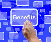 Benefits Button Showing Bonus Or Perks As Company Award — Stock Photo