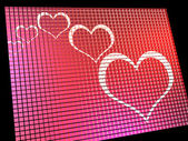 Hearts On Computer Display Showing Love And Online Dating — Stock Photo
