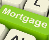 Mortgage Computer Key Showing Online Credit Or Borrowing — Stock Photo