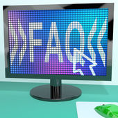 FAQ On Blue Computer Screen Showing Information And Answers — Stock Photo