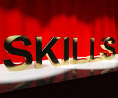 Skills Word On Stage Showing Abilities Competence And Training — Stock Photo