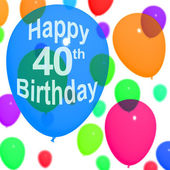Multicolored Balloons For Celebrating A 40th or Fortieth Birthda — Stock Photo
