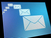 Email Envelopes Being Received On Computer Screen Showing Emaili — Stock Photo