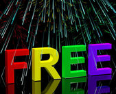 Free Word And Fireworks Showing Freebie and Promo — Stock Photo