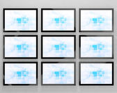 TV Monitors Wall Mounted Representing High Definition Television — Stock Photo