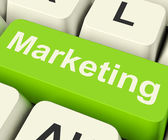 Online Marketing Key Can Be Blogs Websites Social Media And Emai — Stock Photo