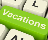 Vacations Computer Key For Booking And Finding Holidays Online — Stock Photo