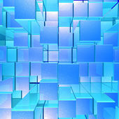 Bright Glowing Blue Opaque Metal Background With Artistic Cubes — Stock Photo