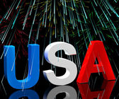 Usa Word And Fireworks As Symbol For America And Patriotism — Stock Photo