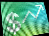 Знак доллара и вверх стрелка монитор как символ для заработка или профи — Стоковое фото