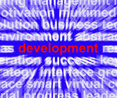 Palavra de desenvolvimento mostra crescimento e avanço da melhoria — Foto Stock