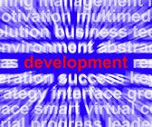 Rozwoju słowa pokazuje poprawy rozwoju i wzrostu — Zdjęcie stockowe