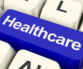 Healthcare Key In Blue Showing Online Health Care — Stock Photo