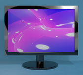 TV Monitor On Stand Representing High Definition Television Or H — Stock Photo