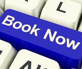 Blue Book Now Key For Hotel Or Flight Reservation Online — Zdjęcie stockowe