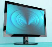 TV Monitor With Blue Vortex Picture Representing High Definition — Stock Photo