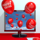 Red Balloons With Happy Xmas From Computer Screen For Online Gre — Stock Photo