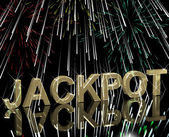 Jackpot Word With Fireworks Showing Gambling Or Winning — Stok fotoğraf