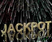 Parola di jackpot con fuochi d'artificio mostrando il gioco d'azzardo o vincente — Foto Stock