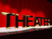 Theater Word On Stage Representing Broadway The West End And Act — Stock Photo
