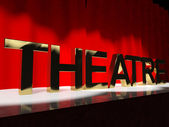 Theatre Word On Stage Representing Broadway The West End And Act — Stock Photo