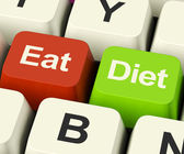 Eat Diet Keys Showing Fiber Exercise Fat And Calories Advice Onl — Stock Photo